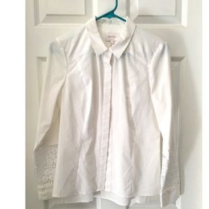 Laundry by shelli segal  white lace cotton shirt